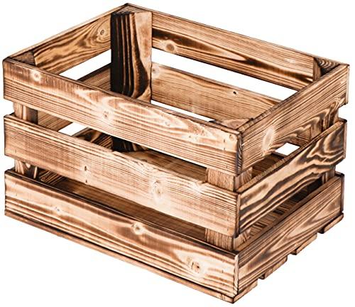 LAUBLUST Vintage Holzkiste - Geflammt | Aufbewahrungskiste aus Holz - Geschenkkiste & Deko | ca. 40x30x25cm - L