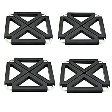 Kitchen Foldable Silicone Metal Trivets, Pot Holder Pads, Table Dish Mat - Expandable/Collapsible (Square Black-4 packs)