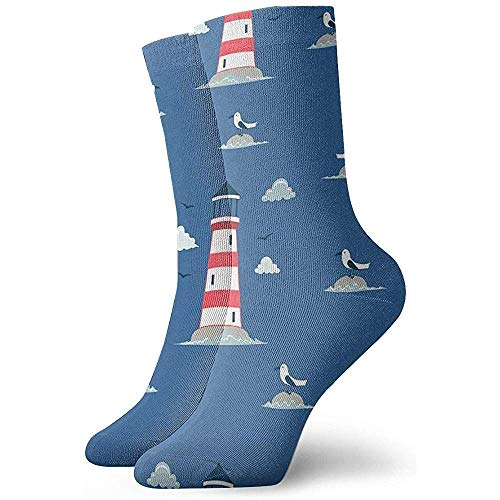 LLeaf Novedad Funny Crazy Crew Sock Lighthouse Pattern Printed Sport Athletic Medias 30cm Calcetín para...