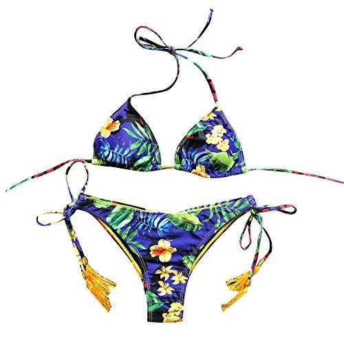 Dicomi Women Fashion Swimsuit Bikini Set Sexy Print Bandeau Bandage Push-Up Brazilian Swimwear Beachwear Dark Blue
