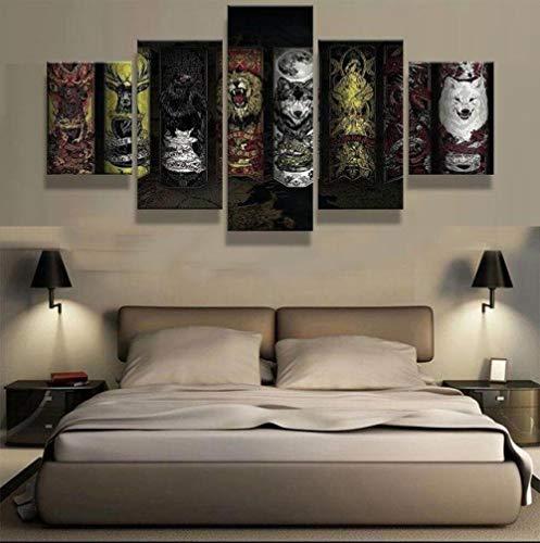 VKEXVDR Impresión Lienzo Pintura Thrones Great Houses - Película para la Oficina Moderna Decoraciones hogar de la Imagen,(40x60*2+40x80*2+40x100*1) 5pcs