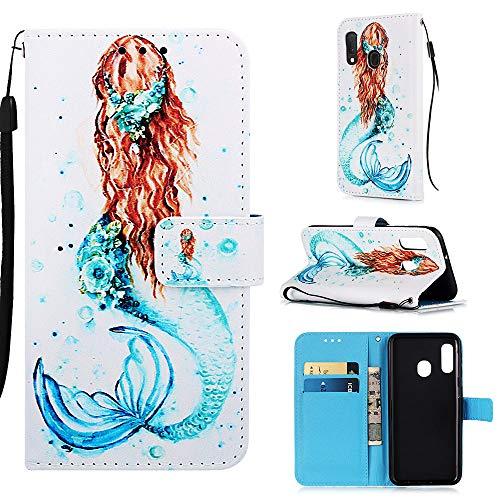 Binguowang Galaxy A20e Case, Galaxy A10e Phone case Kickstand Flip Nice Practical Wallet Protective Case with Credit Card Slot and [Magnetic Closure] for Samsung Galaxy A20e / A10e. (Mermaid)