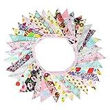G2PLUS Süße Beidseitig Wimpel Girlande, 10M Bunting Wimpelkette mit 36 STK Farbenfroh Wimpeln für Hochzeits Geburtstag Party
