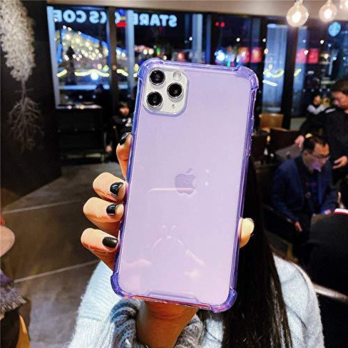 AAA&LIU Funda Transparente para teléfono a Prueba de Golpes para iPhone 11 Pro MAX XR XS MAX Funda Transparente de TPU Suave para iPhone 6 6s 7 8 Plus, Púrpura, para iPhone XS
