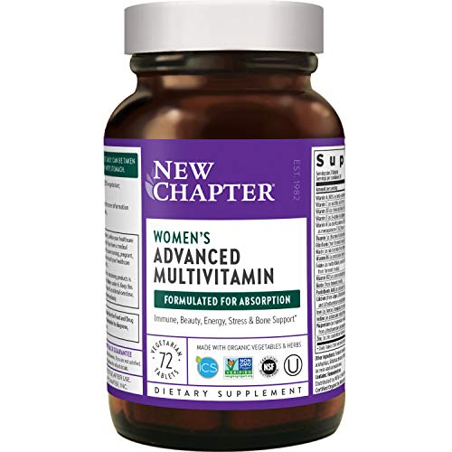 New Chapter Women's Multivitamin + Immune Support, Women's Advanced Multi (Formerly Every Woman) Fermented with Whole-Foods & Probiotics + Iron + Vitamin D3-72 ct (Packaging May Vary) (727783003034)