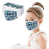 Dreischichtige Einweg-Mundschutz Atmungsaktive und komfortable elastische Ohrmuscheln Filter Gesichtsschutz für Kinder, Half Face Cover Wiederverwendbare (20, Blau)