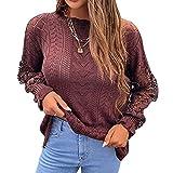 SHIZUANYUE - Jersey para mujer con cuello en V, corte ajustado, camiseta de manga larga, suéter para otoño e invierno con botones, túnica de gran tamaño, blusa suelta con encaje, café, XL