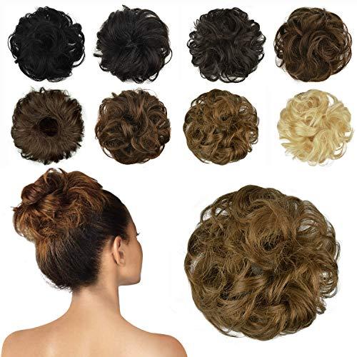 FESHFEN 100% Echthaar Haarteil Haargummi, lockige haarteile Haarknoten Haargummi Hochsteckfrisuren unordentlich dutt Haarteil Echthaar Haargummis für Damen Mädchen, Rotblond