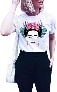 Qrupoad Womens Frida Kahlo Personalized Artist Summer Oversized Short Sleeve T Shirt
