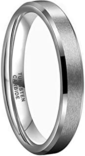 iTungsten 4mm 6mm 8mm Tungsten Carbide Rings for Men Women Wedding Bands Matte Finish Beveled Edges Comfort Fit