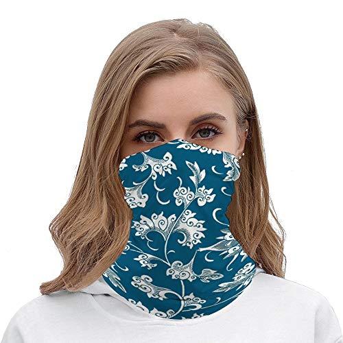 PotteLove Modern Vintage Teal Blue Chinoiserie Floral Unisex Multifunctional Bandana Neck Gaiter Tube Headwear headkerchief, Motorcycle Face Mask Bandana Headband for Women Men Face Scarf
