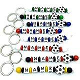 Schlüsselanhänger mit Name Fussball viele Vereinsfarben personalisierbar Gravur Schulranzen Baby Kind Kindergartentasche Wickeltasche Namensanhänger