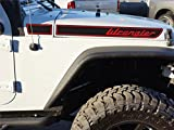 The Pixel Hut gs00221 Black with Red Lettering Retro Hood Decals for Jeep Wrangler JK (2007-2018)