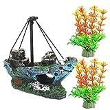 Juego de decoraciones de naufragio de acuario Magicwolf de resina hundida para tanque de peces ornamentos para acuarios, accesorios de decoración, naufragio x 1, planta acuática x 2