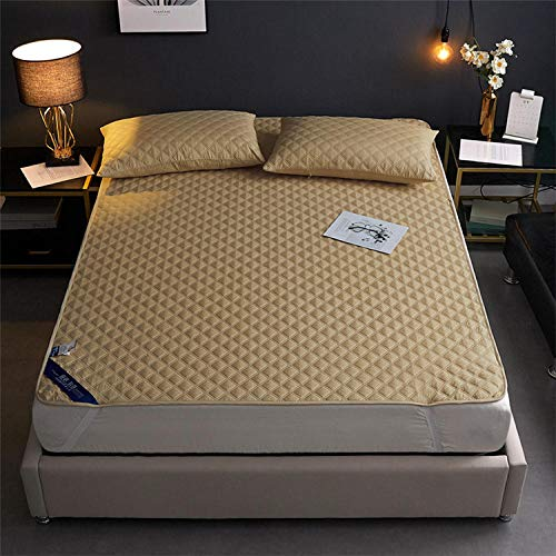 LCFCYY Luxurious Bedding Bedsheet,Pure color quilted waterproof fitted sheets, anti-fouling and dust-proof mattress cover for the elderly and children-yellow_90*200cm