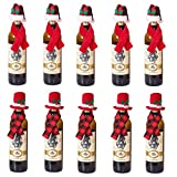 CheeseandU Christmas Wine Bottle Cover, 10Pack Xmas Wine Bottle Dress Scarves and Santa Hat Set Champagne Bottle Decoration for Holiday Christmas Table Decorations Gift Bag Plaid Red