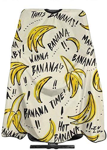 Wanna Banana - Capa de peluquería profesional, cuello elástico y hebilla de ajuste de metal, para corte de pelo de 55 pulgadas x 66 - blanco, talla única