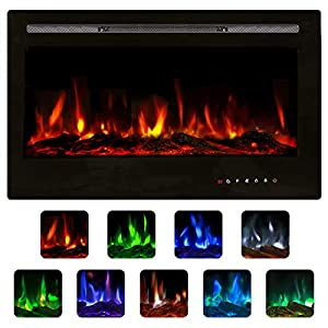 Unionline 92cm in-Wall Recessed Mounted Electric Fireplace Insert with Touch Screen Control Panel, 9 Colors & Remote Control, 900/1800W Heater with Timer, Black