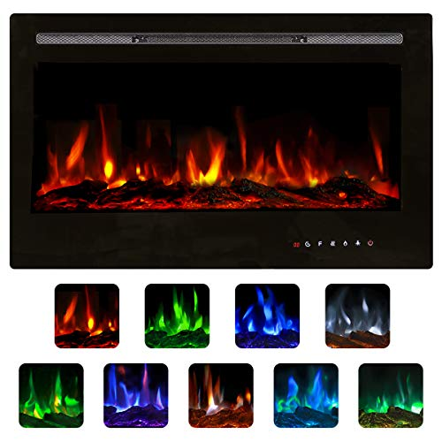 Unionline 127cm in-Wall Recessed Mounted Electric Fireplace Insert...