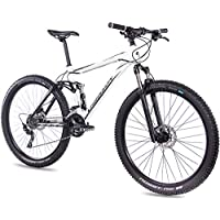CHRISSON Fully Hitter FSF - Bicicleta de montaña (29 Pulgadas, suspensión Completa, Cambio Shimano Deore de 30 velocidades, Horquilla Rock Shox), Color Blanco y Negro