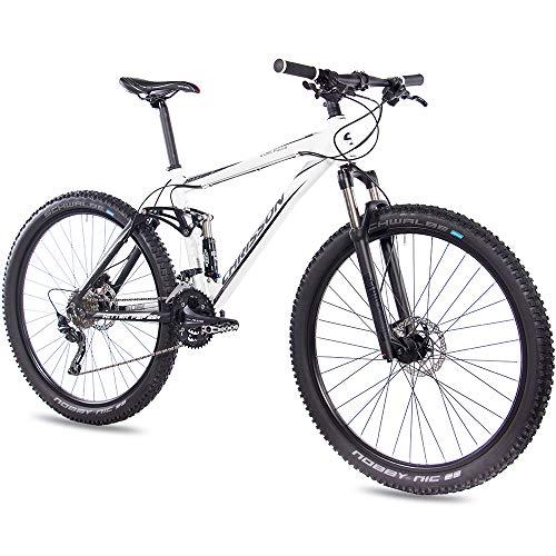 CHRISSON Mountainbike Fully 29 inch - Hitter FSF wit zwart - volledige vering mountainbike met 30 versnellingen Shimano Deore derailleur - MTB fiets voor heren en dames met Rock Shox veervork