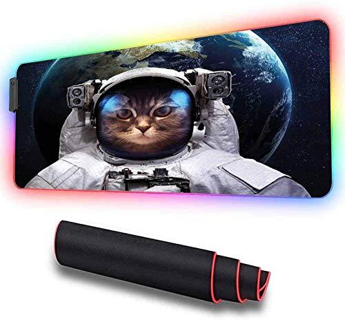 Alfombrilla de ratón grande, astronauta, traje de cosmonauta, ingenio de gatito ratón extendida con LED brillante de gran tamaño, base de gomateclado impermeable ratón, 600x350x30 mm