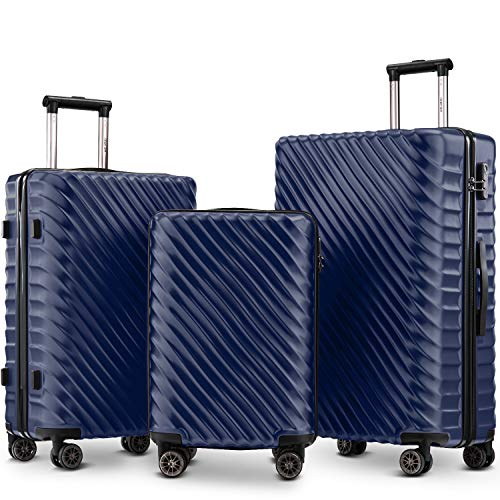 Nyyi Hard Shell Suitcases, Luggage Sets 3 Piece Lightweight 4 Wheels, Travel Case Hand Luggage Cabin, |with Lock (Dark Blue)