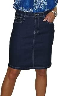 ICE Stretch Denim Above Knee Jeans Skirt Indigo Blue 4-16