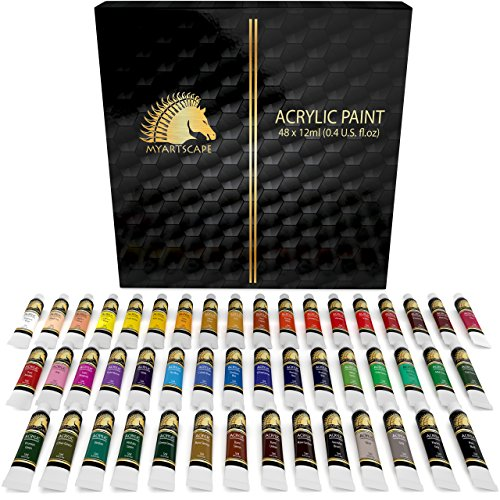 professional Acrylic Paint Set – 48 x 12 ml Tubes – High Performance – Light Resistant – My Artscape ™ Artistic Quality Colors