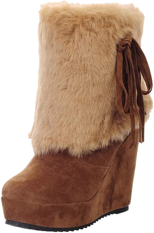 York Zhu Womens Boots,Winter Fashion Wedge High Heel Downy Flat Boots shoes