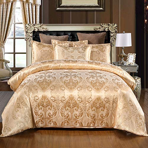 TEALP Damask Bedding Double Duvet Cover Set Gold Duvet Quilt Cover with 2 Matching Pillow Cases(200 * 200, Double)