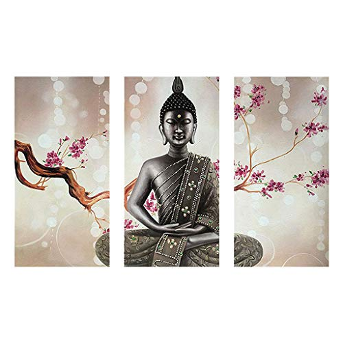 Exing Cuadro de diamantes 5D con diseño de Buda y niña bonita, 90 x 55 cm, bordado de cristales de estrás, para...