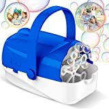 Hamdol Bubble Machine, Automatic Bubble Blower, Portable Bubble Maker for Kids with 4500+ Bubbles/min, 3 Speeds, Brushless Motor, Powered by Plug-in or Batteries, Bubble Toys for Indoor Outdoor Party