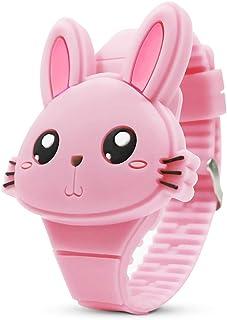 Montre Enfant Filles Numérique - Mignonne en Forme de Lapin Rose Montre Fille - LED Dessin Animé Animal Mode Outdoor Calen...