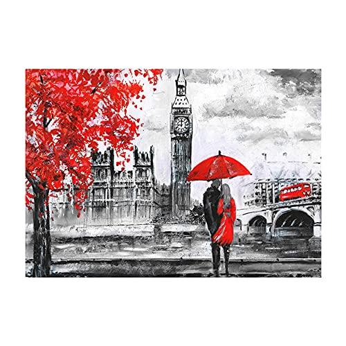Kit de punto de cruz 40x50cm 14CT pareja de personajes paisaje de autobús de Londres por número bordado kit de impresión kit hecho a mano bordado bricolaje principiante kit de inicio hecho a mano
