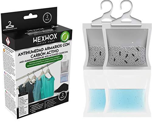 Wexwox luchtontvochtiger vochtige absorber met actieve koolstofabsorberende vocht, ontvochtigingszakken voor kasten, badkamers, waskamers, broeken, opslag, 2 stuks