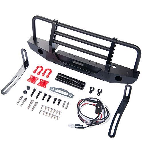 XUNJIAJIE Stahl Frontstoßstange mit Beleuchtung/Schäkel/Winde-Montageplatte für Traxxas TRX4 1/10 Crawler Auto