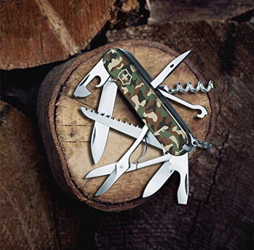 Victorinox Huntsman Swiss Army Pocket Knife, Medium, Multi Tool, 15 Functions, Large Blade, Bottle Opener, Camouflage
