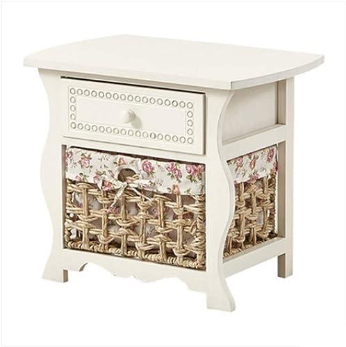 NAN Table de Chevet Blanche Armoire de Rangement pour la Chambre à Coucher en Paille Armoire de Chevet avec Le tiroir de Rangement Simple - 50  32.5  43cm