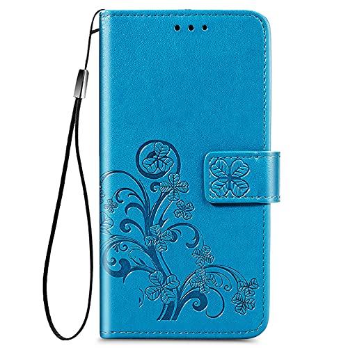YIKLA Funda para TCL 20S, Diseño Retro del Modelo de Flores Folio PU/TPU Cuero Wallet Case, con Ranuras para Tarjetas, Cierre Magnético, Premium Flip Wallet Cover - Azul
