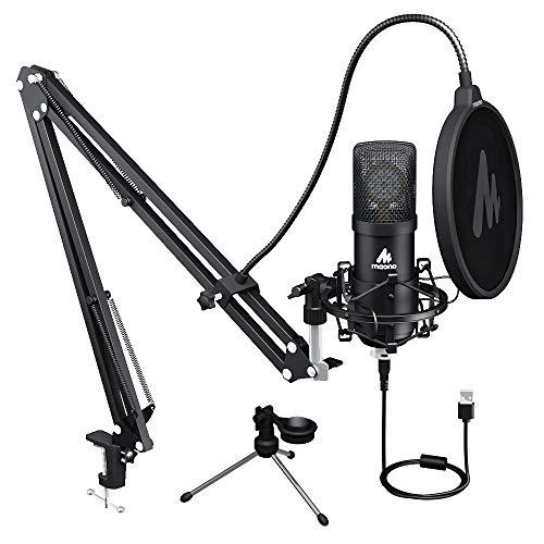 USB Microphone 25mm Large Diaphragm MAONO AU-A425 Plus 192KHZ/24Bit Cardioid Condenser PC Microphone with Two Metal Stand for Podcasting, Gaming, Studio/Home Recording, Streaming, YouTube, Computer