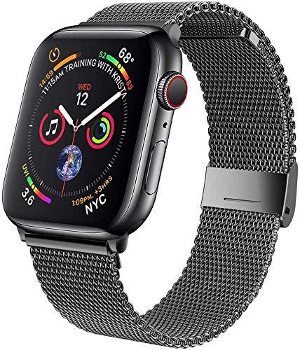 MOUKOU Ersatz Armband kompatibel mit Apple Watch 42mm 44mm Armbänder verstellbares Edelstahl-Mesh-Ersatzband für iWatch Serie 5/4/3/2/1