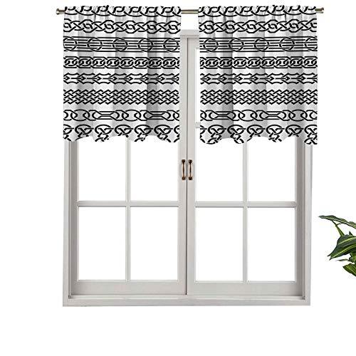 Hiiiman Cenefa recta de cortina de alta calidad con bolsillo para barra, bordes vintage en forma de adornos celtas, juego de 2, 106,7 x 60,9 cm, ideal para cualquier habitación y dormitorio