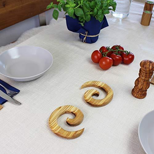 Mitienda Lot de 2 dessous de plat en bois en forme de spirale ronde, table et cuisine, ustensiles de cuisine, idée cadeau, bois d'olivier