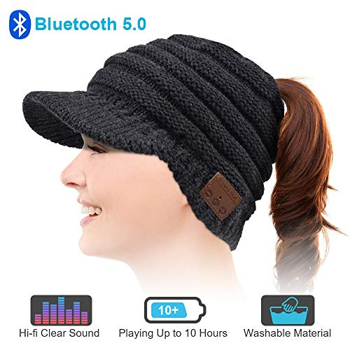 Bluetooth Beanie Hat, Upgraded Bluetooth 5.0 Beanie Hat Gift for Women, Wireless Headphone Ponytail Beanie Music Hat, Winter Knitting Cap Bluetooth Earphones, Built-in Microphone Hand-Free Call Black