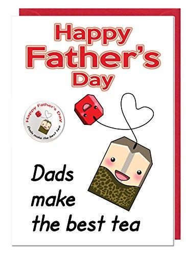 Mooie Vaderdag Thee Thema Kaart En Badge Voor Een Papa of Stiefvader - Papa Maak De Beste Thee