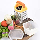 Bagonia Stainless Steel Grater And Slicer With 6 Sides, Plastic Storage And Lid For Cheese, Vegetables, Ginger, Garlic, Orange