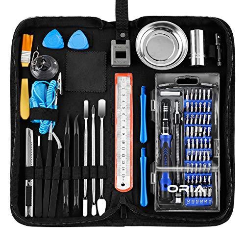 ORIA Professional Repair-Tool-Kit, 84 in 1 Mini Feinmechaniker-Set mit Steckschlüssel & Magnetablage, Schraubendreher Set Feinmechanik für Smartphone, Tablets, PCs, Kameras, Uhren, Brillen, Modellbau