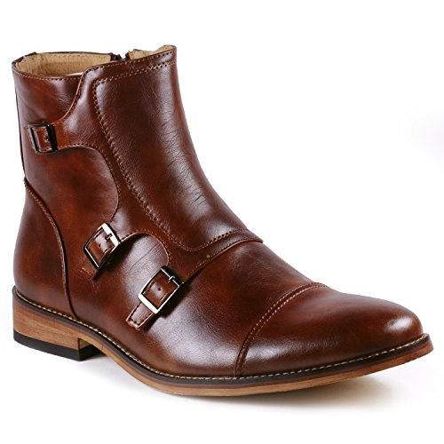 Metrocharm MC133 Men's Cap Toe Triple Monk Strap Formal Dress Casual Ankle Boots