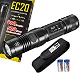 Nitecore EC20 960 Lumens 242 Yards Compact Cree XM-L2 LED Flashlight with 2x CR123A Batteries and a Lumen Tactical Premium Holster